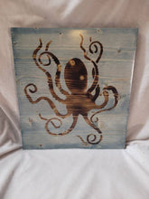 Load image into Gallery viewer, Burned Wood Octopus Sign - Stained Worn Navy- 12x11 inches - Fully Finished and Ready to Hang