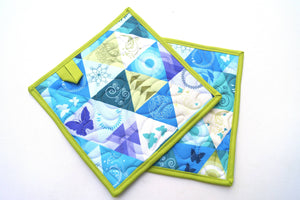 Quilted Fabric Pot Holders with Blue Green Triangle Print, Modern Cloth Hot Pads, Set of Two