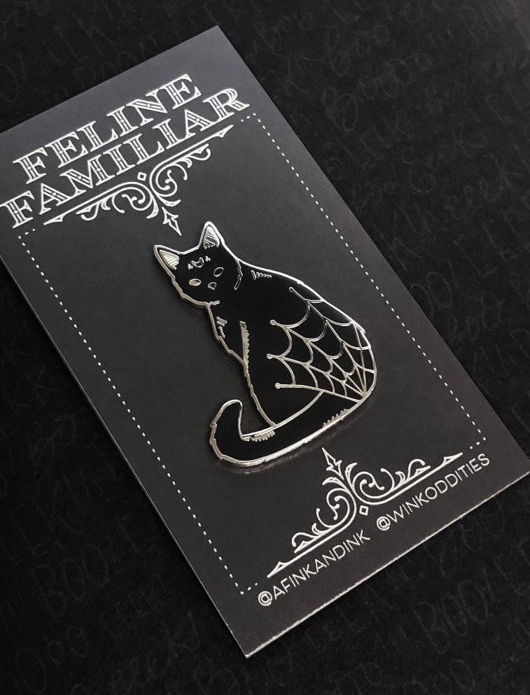 "Spooky Black Cat Feline Familiar - Halloween Series Familiar Lapel Pins - 1.5"" Hard Enamel - Black - Silver - Goth - Witchy"