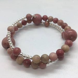 Rhodochrosite Rhodonite and Sterling Silver Memory Wire Stacked Bracelet