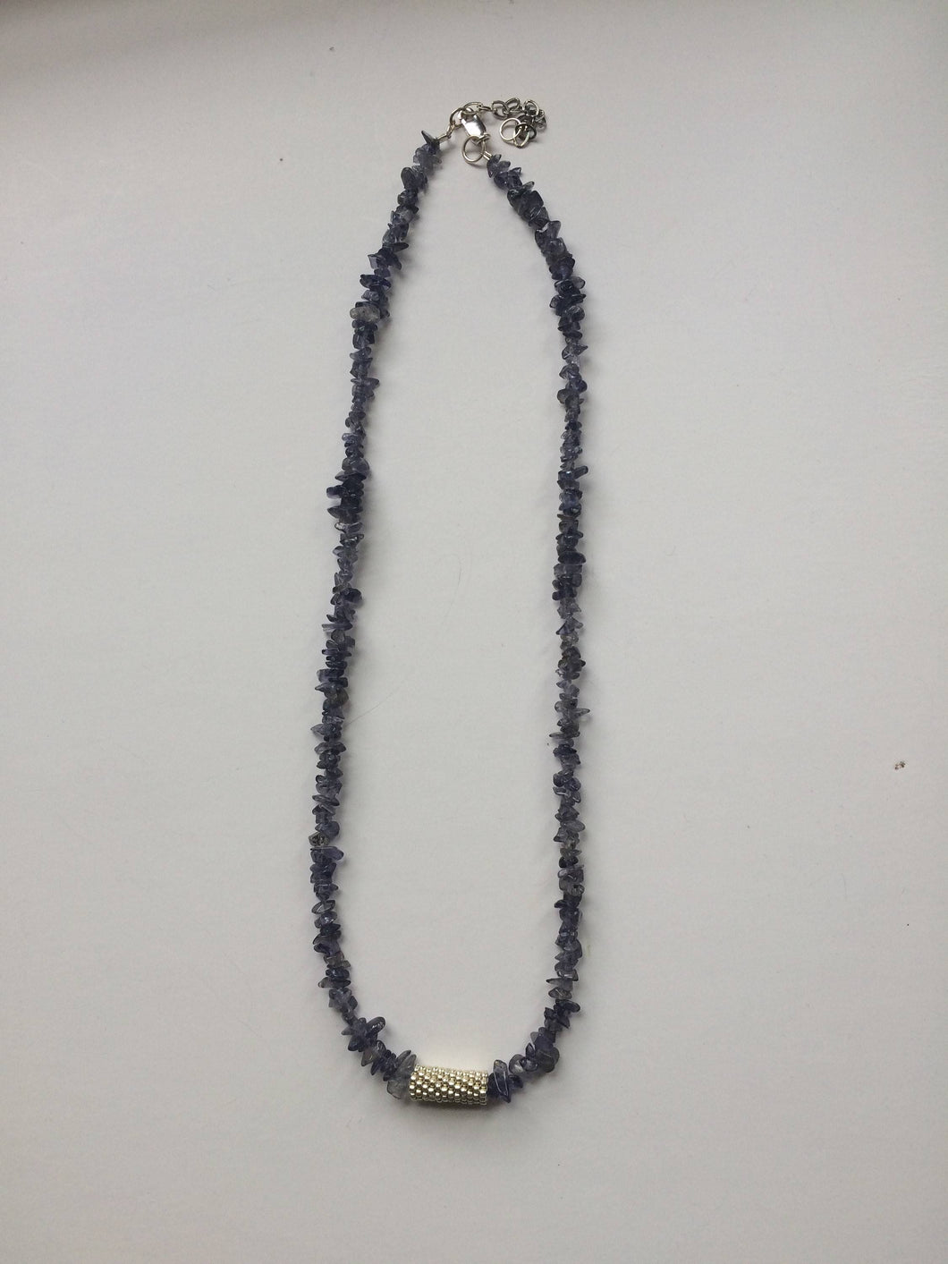 Lapis Lazuli Necklace with Peyote Stitch Tube Bead