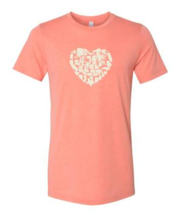 Better Together - 50 State Icons Heart Design Shirt (Heather Sunset)