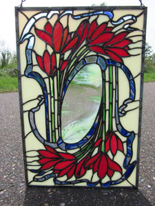 Stained Glass Art Nouveau Flowers