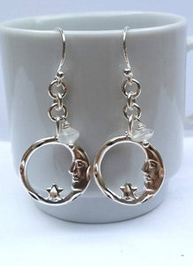 Moon and Stars Dangle Earrings - Sterling Silver and Natural Moonstone
