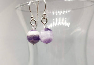 Natural Amethyst and Sterling Silver Dangle Earrings