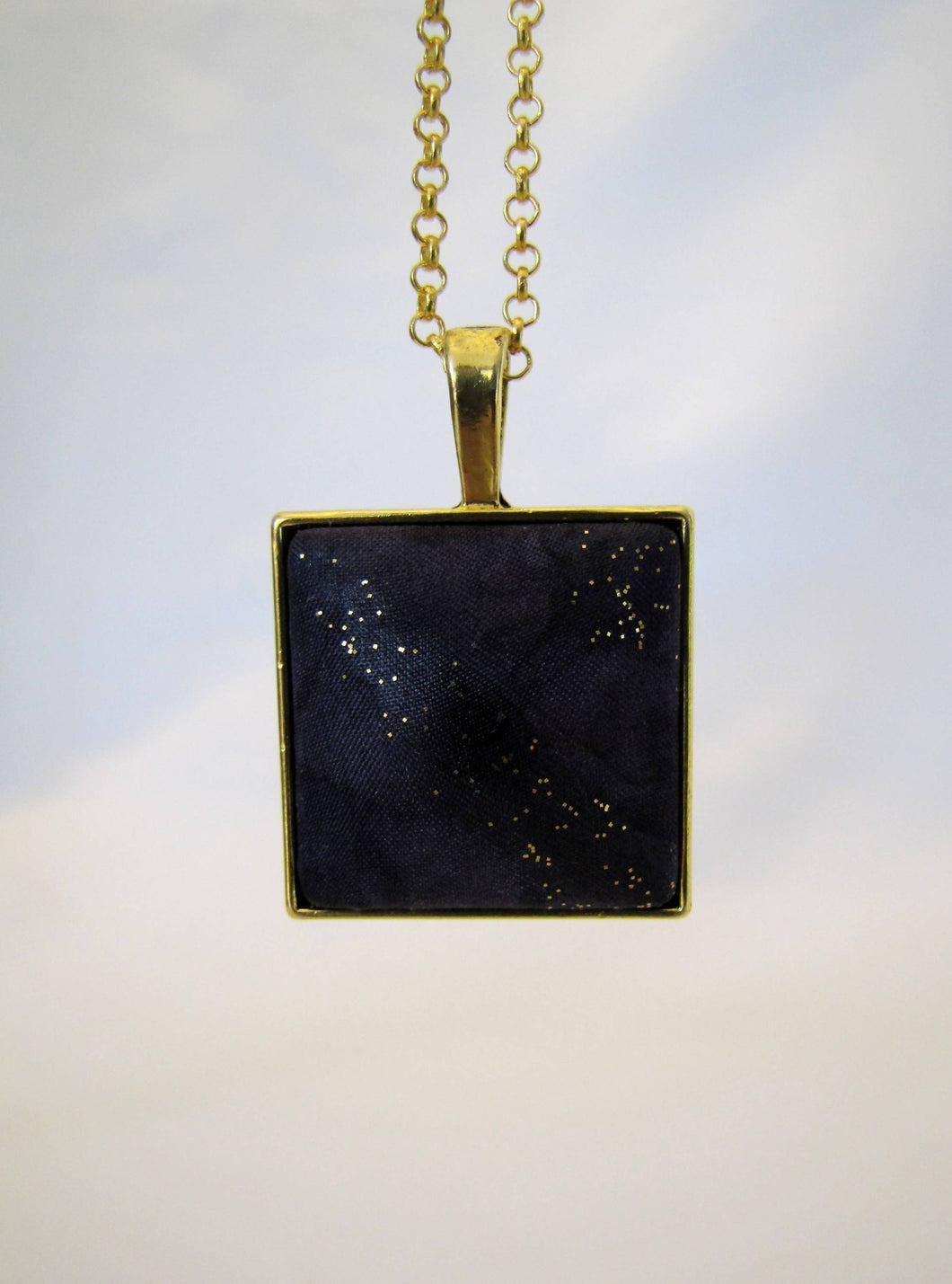 Black Silk Pendant Necklace, Hand-Painted Dark Purple Gold Woman's Mother's Day Birthday Gift, Made in USA