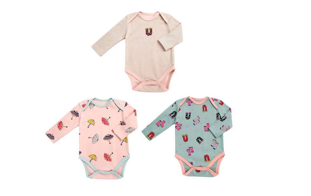 My Little Arrow Girl Onesies Long Sleeve - 3 Pack - One-Pieces - Organic Cotton Hypoallergenic Bodysuits 3-6 to 6-9 Months