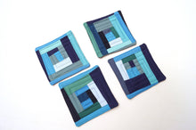 Load image into Gallery viewer, Quilted Fabric Coasters in Shades of Blue, Modern Patchwork Cloth Drink Ware, Set of Four