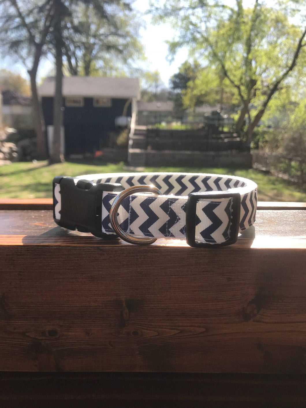 Handmade Navy Chevron Dog Collar