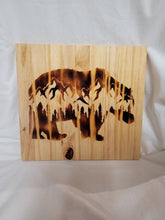 Load image into Gallery viewer, Wood Burned Bear and Mountain Scene Wood Sign 11.5x12 in - Fully finished and ready to hang