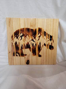 Wood Burned Bear and Mountain Scene Wood Sign 11.5x12 in - Fully finished and ready to hang