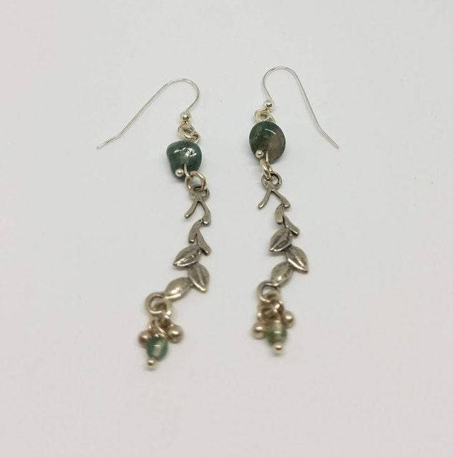 Moss Agate and Sterling Silver Leaves - Dangle Earrings