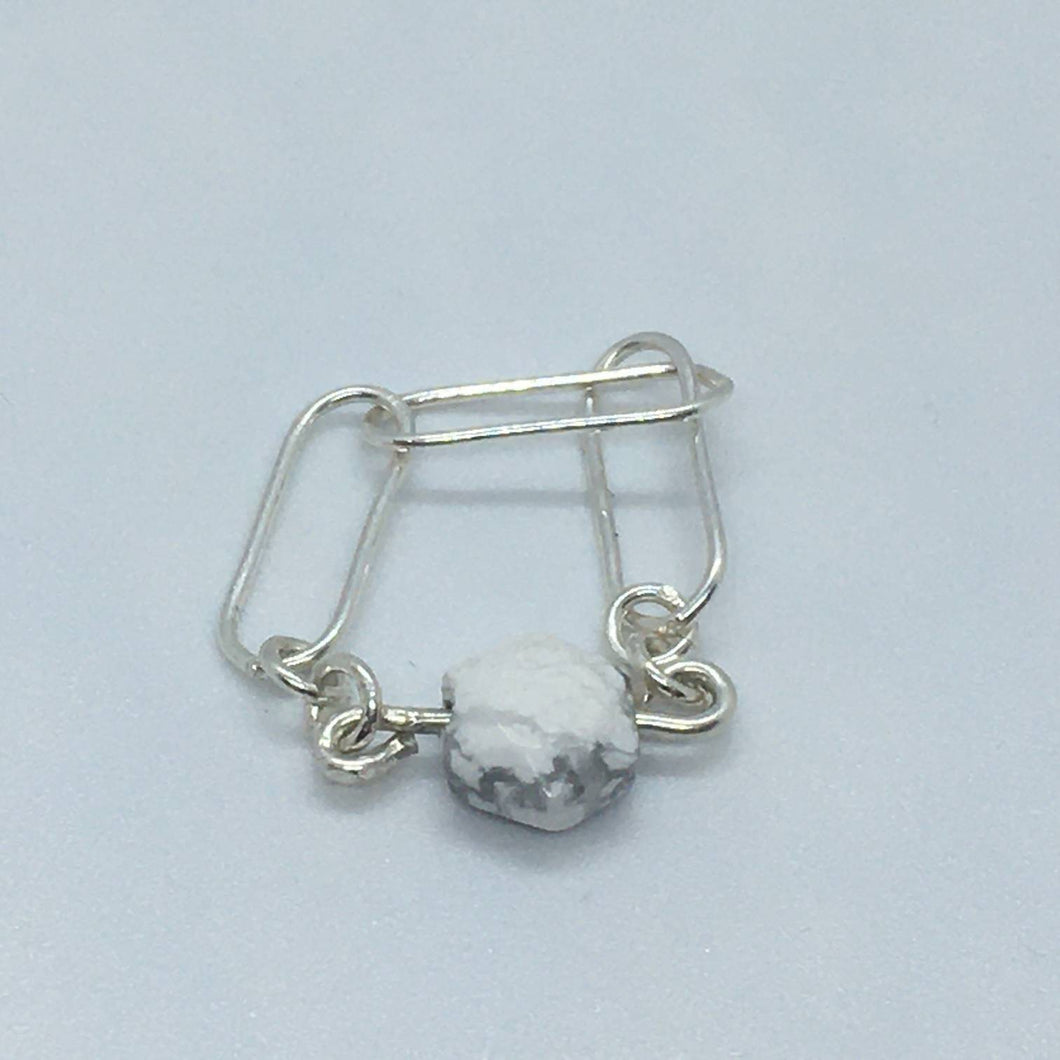 Sterling Silver and Howlite Chain Ring