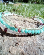 Load image into Gallery viewer, Natural Gemstone Beaded 3 Layer Bracelet with Sterling Silver, Ruby, Peridot, Amazonite, and Rose Quartz