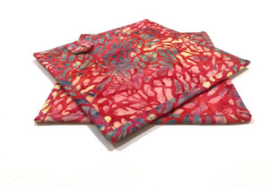 Batik Quilted Fabric Pot Holders with Pink Coral Pattern, Choice of One Hot Pad or Set of Two