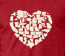 Load image into Gallery viewer, Better Together - 50 State Icons Heart Design Shirt (Heather Red)