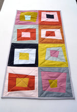Load image into Gallery viewer, Quilted Fabric Table Runner with Colorful, Abstract Log Cabin Patchwork