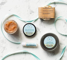 Load image into Gallery viewer, Custom Spa Gift Set | With Loofah Soap, Himalayan Salt Scrub, Organic Body Butter, and Organic Lip Balm | Bridesmaid Gift