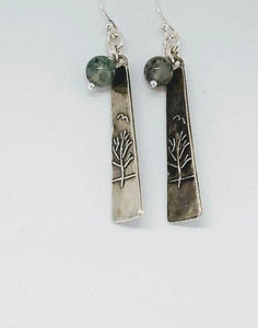 Sterling Silver Long Triangle Tree with Moss Agate - Dangle Earrings