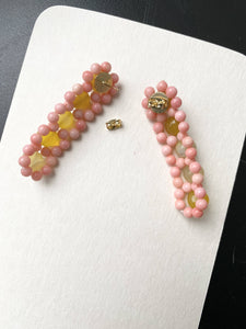 Christen Drop in Amber Citrine Pink Dyed Coral Sponge 18K Plated Gold Handmade Daisy Chain Earrings