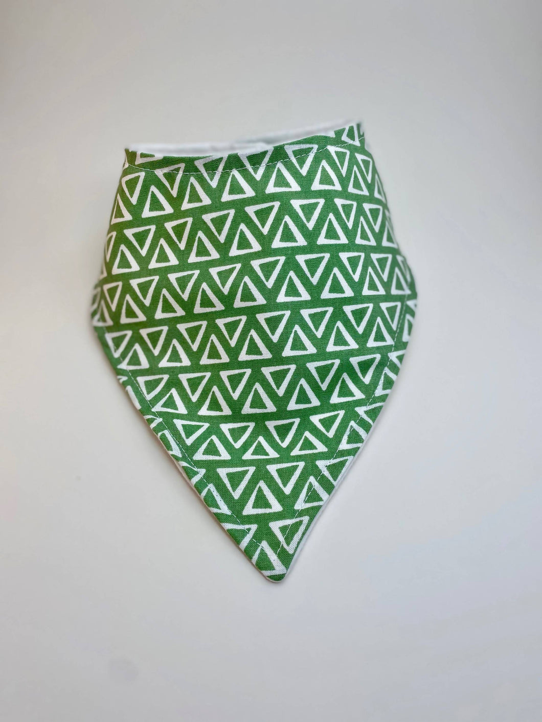 Baby Cotton Bandana Bib | Green Triangles