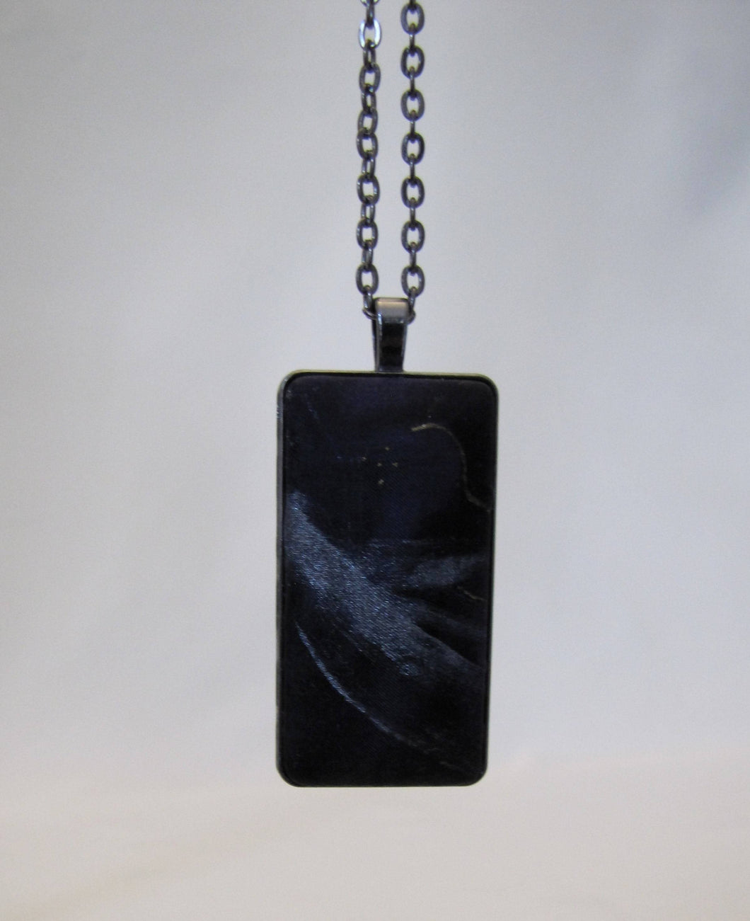 Black Silk Pendant Necklace, Silver Purple Hand-Painted, Unique Woman's Mother's Day Birthday Gift, Made in USA