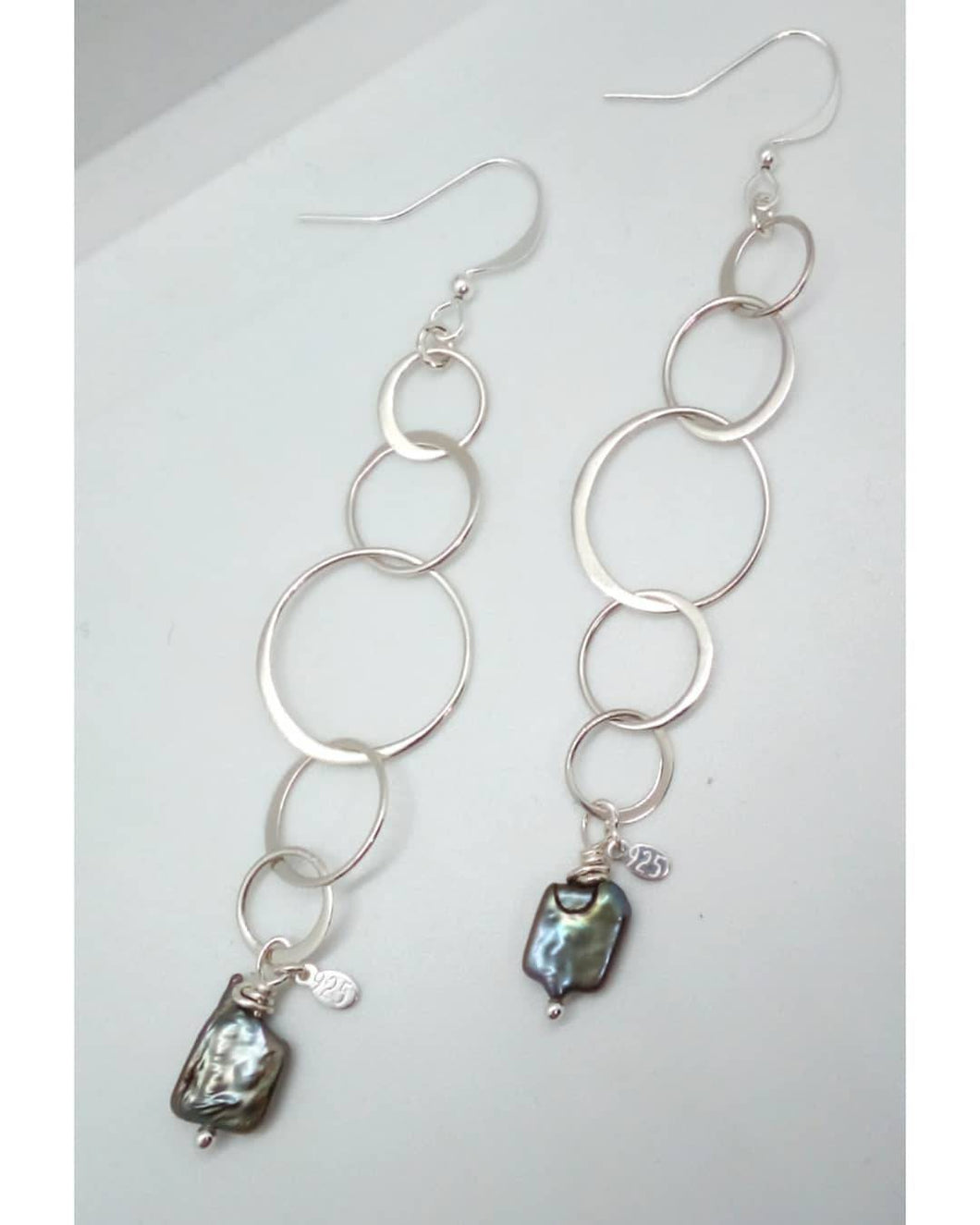 Sterling Silver Round Chain Links and Freshwater Pearl Dangle Earrings
