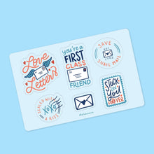 "Load image into Gallery viewer, Happy Mail - Save Snail Mail - Vinyl Kiss-Cut Sticker Sheet - 4x6"" - Blue - Save USPS - Postal Worker Relief - Fundraising - Friendship"