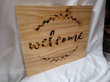 "Load image into Gallery viewer, Burned Wood Welcome Sign - 14""x12"" - Fully finished and ready to hang - Handmade"