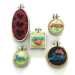 Stack of Hearts - Mini Embroidery - Choose Necklace or Magnet