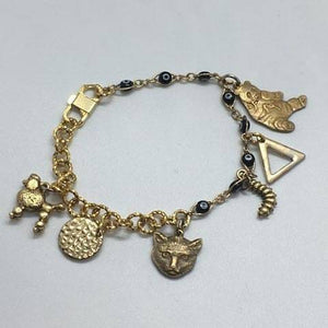 14K Gold and Brass Chunky Geometric and Animal Charm Bracelet