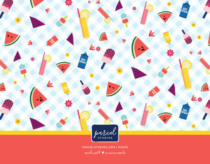 Pink Lemonade Picnic Whimsical Flat Note Cards - Set of 8