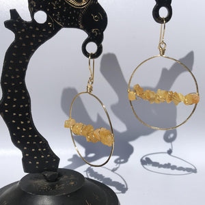 Hoop Earrings Gold Wire Wrapped Yellow Agate