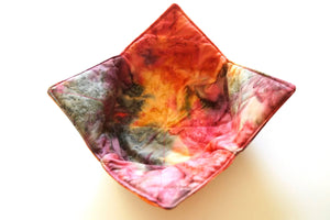 Microwave Bowl Cozy Pink, Purple and Grey Hand Dyed Batik Fabric, Soup, Bread or Ice Cream Bowl Holders