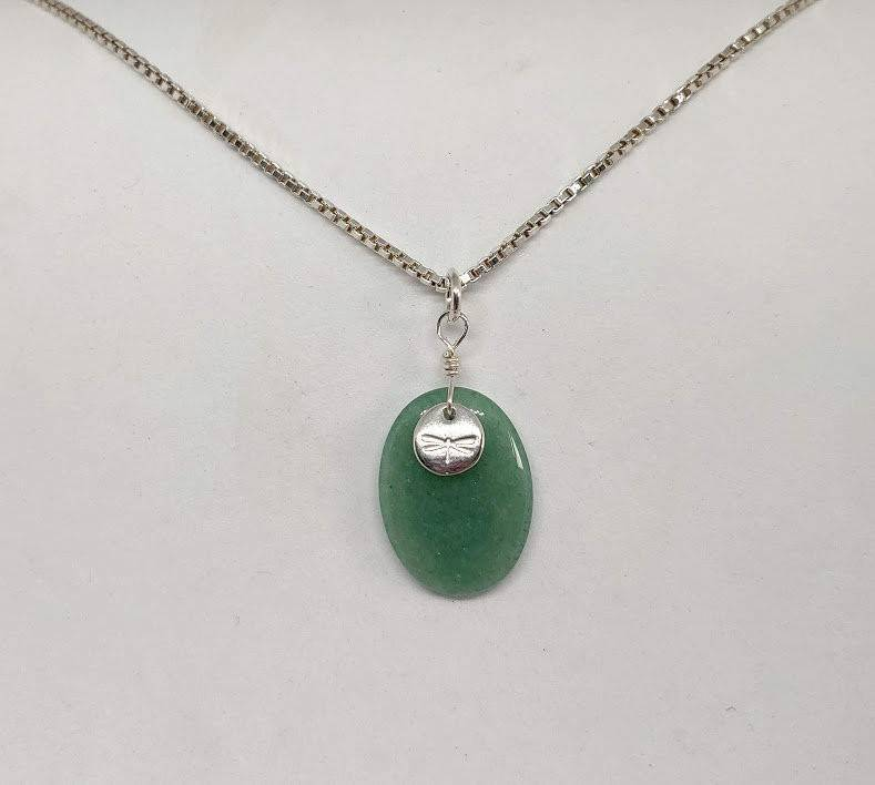 Natural Aventurine and Dragonfly Charm Necklace
