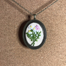 Load image into Gallery viewer, Daisies and Pink Hyacinth- Hand Embroidered Necklace - Metal Pendant