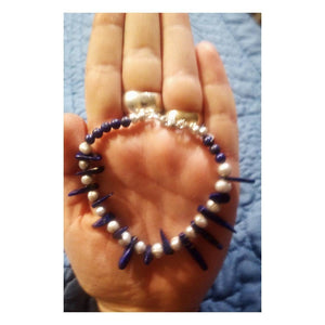 Lapis Lazuli Gemstone Dagger Bracelet with Freshwater Pearls and 925 Silver