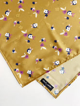 Load image into Gallery viewer, Mustard Floral Scarf // Poly Crepe de Chine