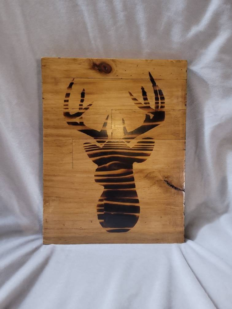 Wood Burned Buck on Butcher Block- 8.5x11x1 - Provincial Stain - Fully Finished and Ready to Hang