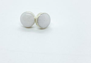 Small Round White Stud Earrings