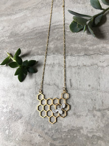 Honeybee Necklace (matte silver bee)