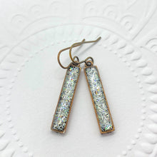 Load image into Gallery viewer, Silver Bar Glitter Dangle Earrings