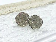 Load image into Gallery viewer, Clear Druzy Round Stud Earrings