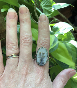 Dendritic Agate double band ring Sz 10