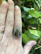 Load image into Gallery viewer, Boulder Opal Statement ring with patterned band sz 7.5