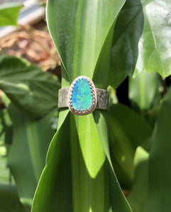 Opal Doublet on hammered band sz 9