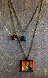 Saint Christopher Necklace Layered Necklace - Turquoise