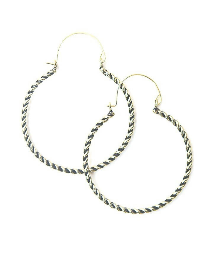Twisted Hoop Earrings - Brass