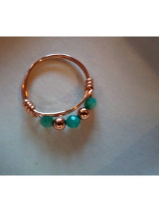 14K Rose Gold 20 Gauge Wire Wrapped Ring with 4mm Faceted Amazonite Rounds and 14K Rose Gold 4mm Seamless Spacer Beads