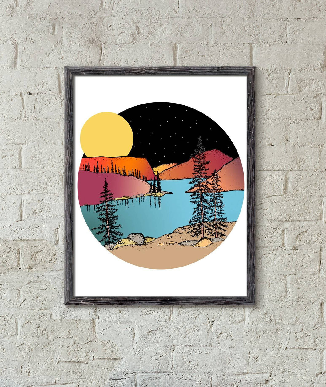 Full Moon Over the Mountains Illustrated Print